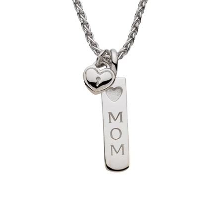 Sterling Silver 18in Mom Necklace with Lock Heart Charm