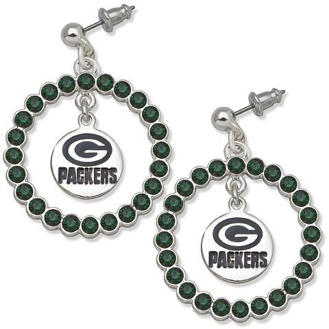 Green Bay Packers Spirit Crystal Logo Earrings
