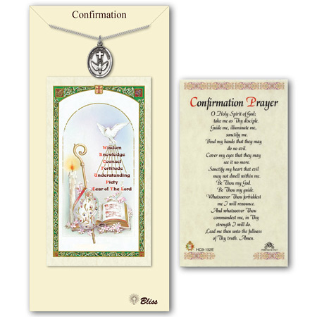 3/4in Pewter Confirmation Medal with Prayer Card