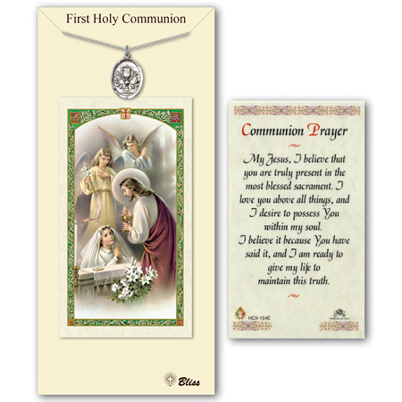 3/4in Pewter Girl's Chalice Communion Medal with Prayer Card