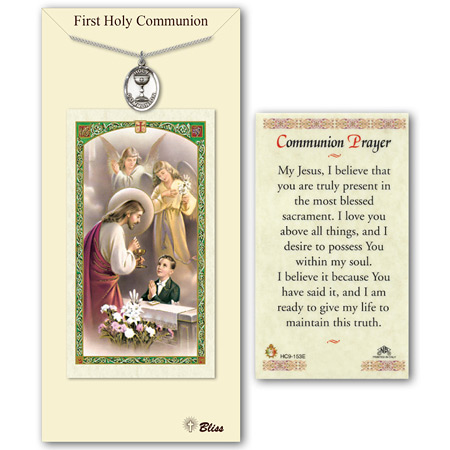 3/4in Pewter Boy's Holy Communion Medal with Prayer Card