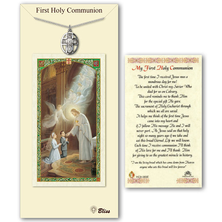 3/4in Pewter 5-Way Communion Medal with Prayer Card