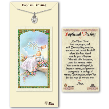 3/4in Pewter Baptism Medal with Prayer Card