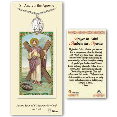 1in Pewter St Andrew Medal with Prayer Card