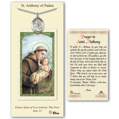 Pewter 1in St Anthony Medal with Prayer Card