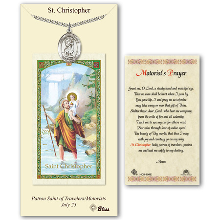 Pewter 1in St Christopher Medal with Motorist Prayer Card