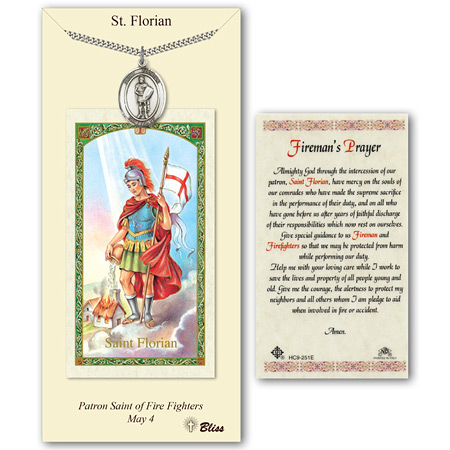 1in Pewter St Florian Medal with Prayer Card
