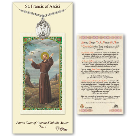 1in Pewter St Francis Medal with Prayer Card