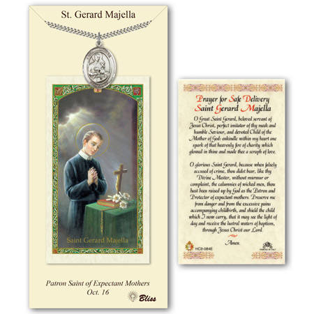 Pewter 1in St Gerard Medal with Prayer Card