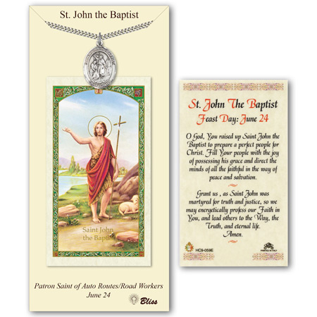 1in Pewter St John Medal with Prayer Card