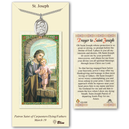 Pewter 1in St Joseph Medal with Prayer Card