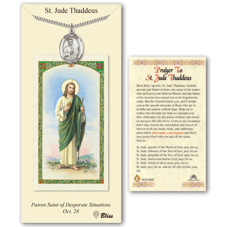 Pewter 1in St Jude Medal with Prayer Card
