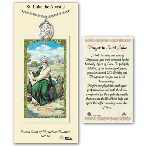 Pewter 1in St Luke Medal with Prayer Card