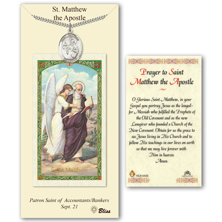 1in Pewter St Matthew Medal with Prayer Card