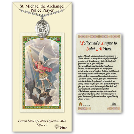 1in Pewter St Michael Medal with Prayer Card