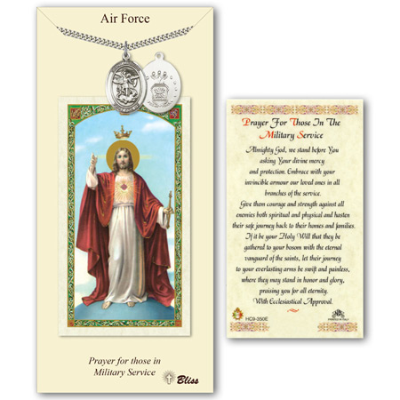 1in Pewter St Michael Air Force Medal with Prayer Card
