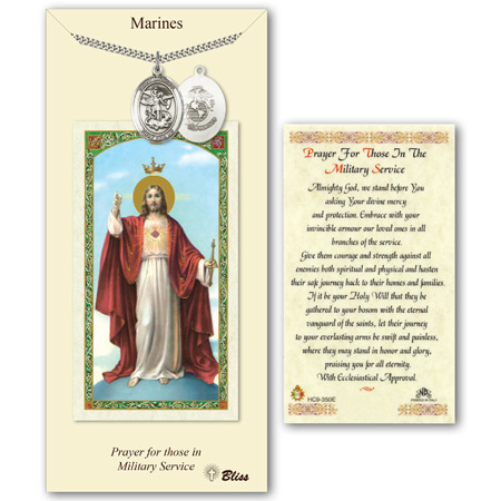 Pewter 1in St Michael Marines Medal with Prayer Card