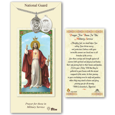 1in Pewter St Michael National Guard Medal with Prayer Card