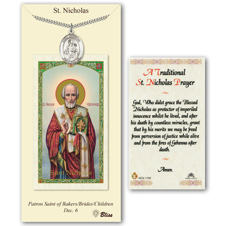 1in Pewter St Nicholas Medal with Prayer Card