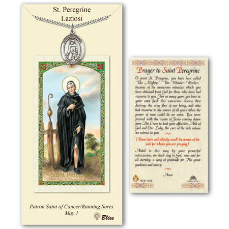 Pewter 1in St Peregrine Medal with Prayer Card