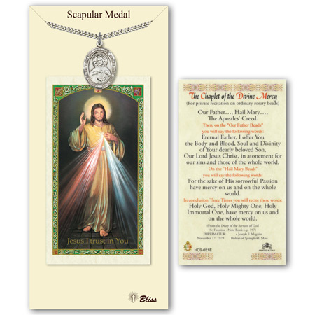 1in Pewter Scapular Medal with Prayer Card