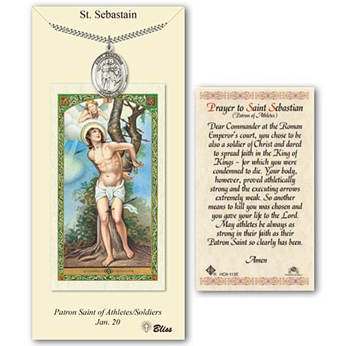 Pewter 1in St Sebastian Medal with Prayer Card