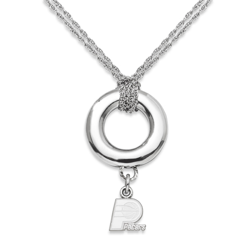 Sterling Silver 16in Indiana Pacers Halo Necklace