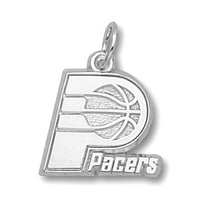 Sterling Silver 3/8in Indiana Pacers Logo Pendant