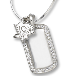 Sterling Silver Pittsburgh Penguins Mini Dog Tag Necklace