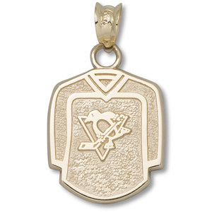 14kt Yellow Gold 5/8in Pittsburgh Penguins Jersey Pendant
