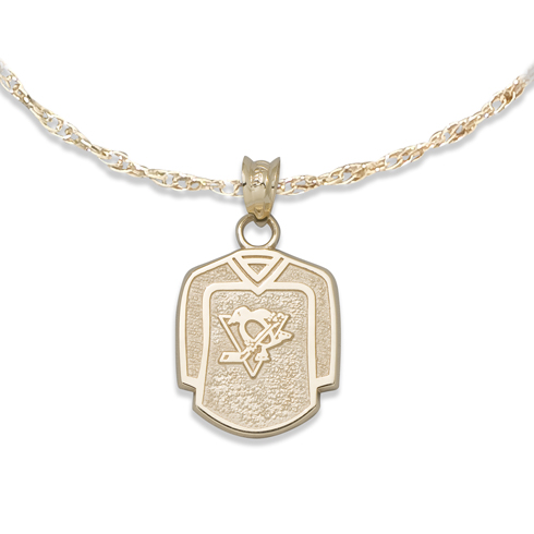 Pittsburgh Penguins 5/8in Jersey on Chain 10kt Yellow Gold