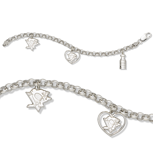 Pittsburgh Penguins 3 Charm Stanley Cup Sterling Silver