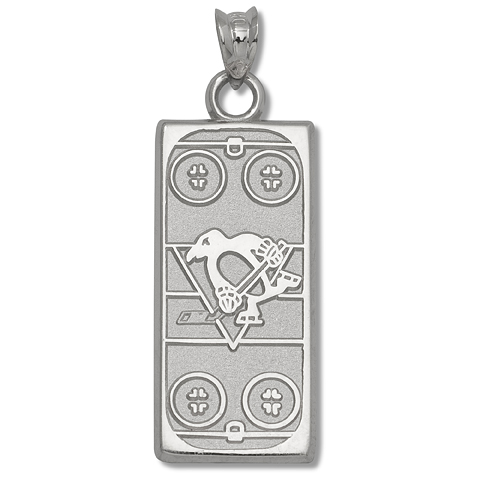 Sterling Silver 15/16in Pittsburgh Penguins Rink Pendant