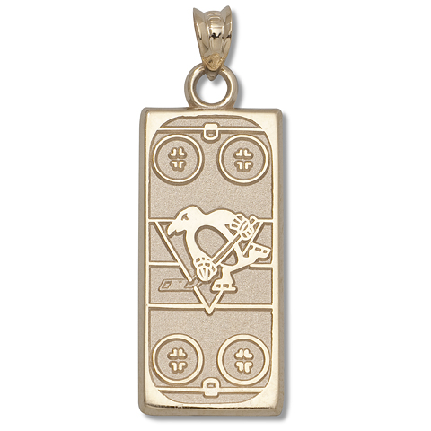14kt Yellow Gold 15/16in Pittsburgh Penguins Rink Pendant