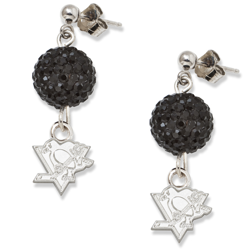 Sterling Silver Pittsburgh Penguins Crystal Ovation Earrings