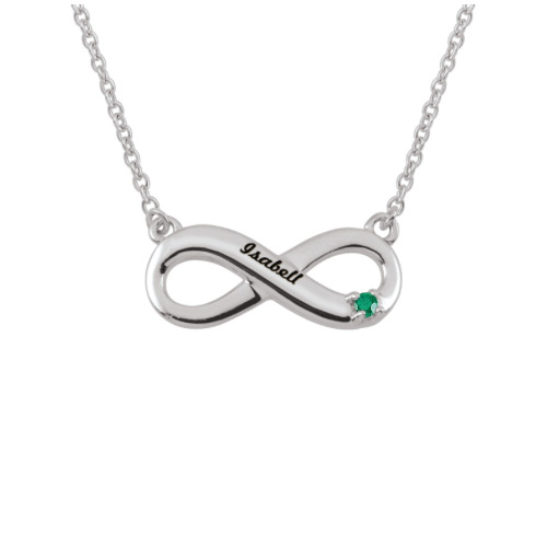 Sterling Silver Birthstone Engravable Infinity Necklace