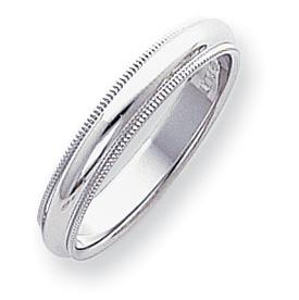 Platinum Comfort Fit 4mm Milgrain Wedding Band