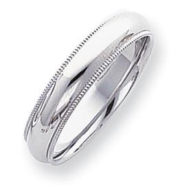 Platinum 5mm Comfort Fit Milgrain Wedding Band