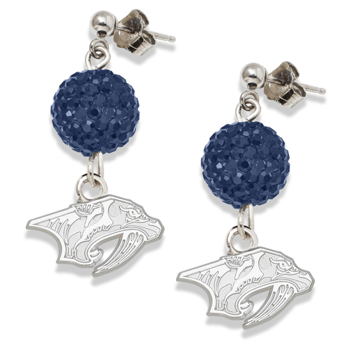 Sterling Silver Nashville Predators Crystal Ovation Earrings