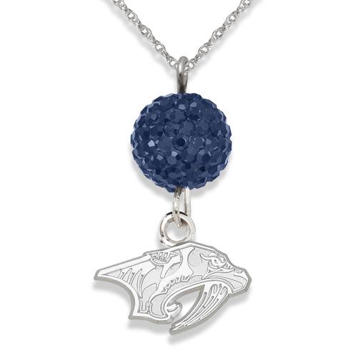 Sterling Silver Nashville Predators Crystal Ovation Necklace