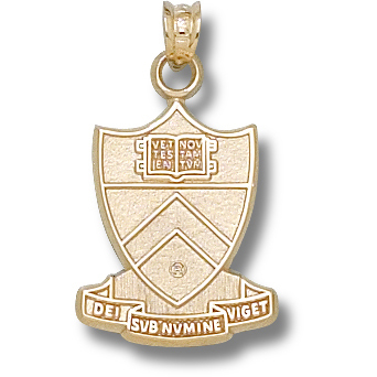 Princeton 3/4in Shield Pendant 14kt Yellow Gold