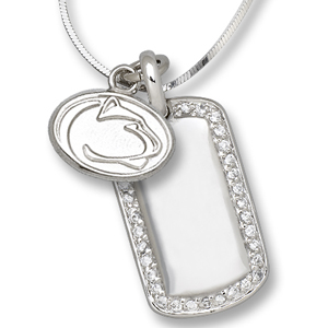 Sterling Silver Penn State Mini Dog Tag Necklace