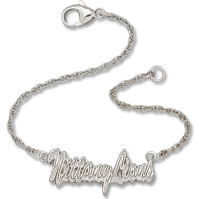 Sterling Silver 7in Nittany Lions Script Bracelet