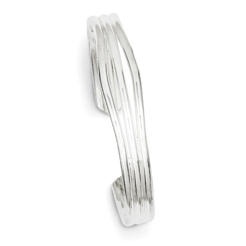Sterling Silver 20mm Cuff Bangle Bracelet with Grooves