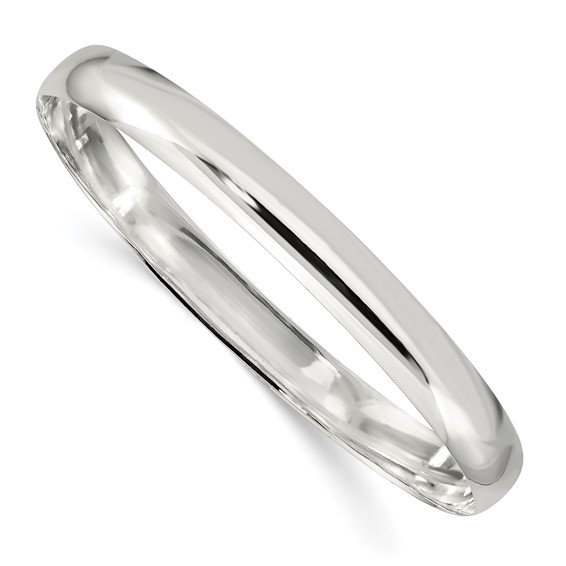 Sterling Silver 7 1/4in Plain Slip-On Bangle Bracelet 7mm