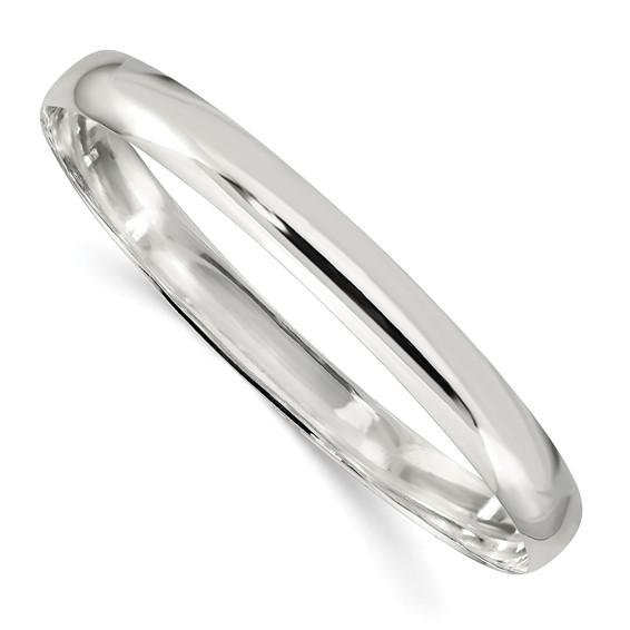 Sterling Silver 7 1/4in Plain Slip-On Bangle Bracelet 7mm