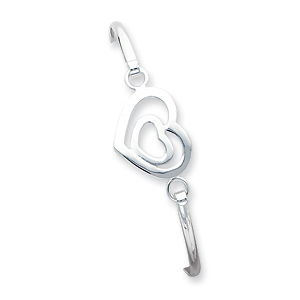Sterling Silver Heart within a Heart Bangle Bracelet