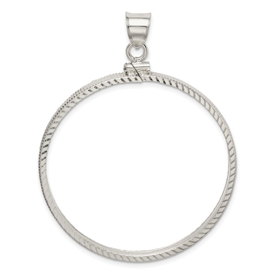 Sterling Silver 39.4 x 3.1mm 1oz Silver Town Diamond-cut Coin Bezel Pendant