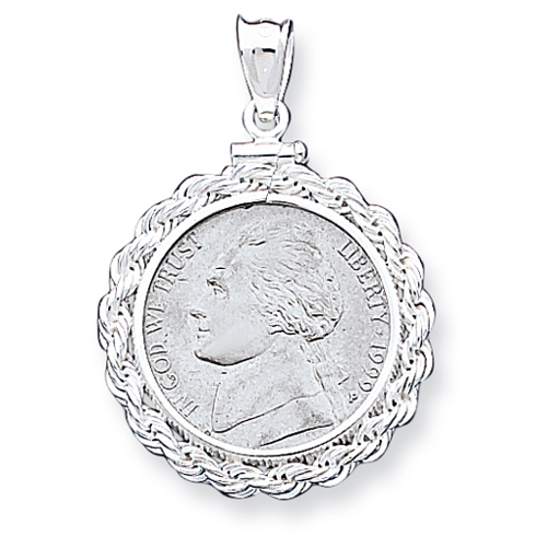 Sterling Silver Nickel Coin Rope Bezel Pendant
