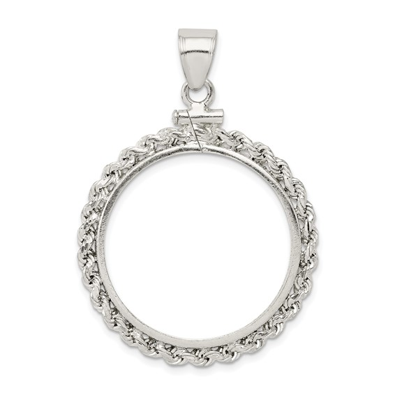 Sterling Silver Susan B. Anthony Rope Coin Bezel Pendant